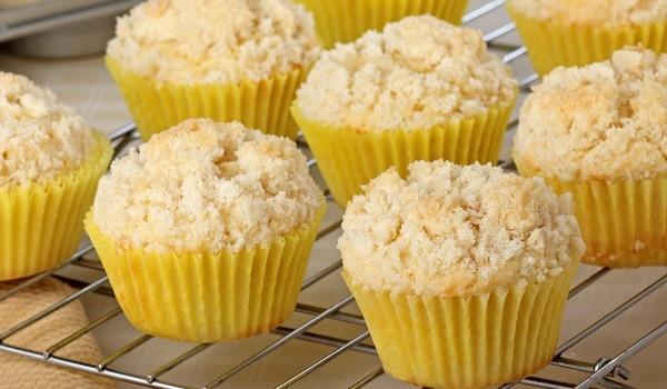 lemon crumb muffins with lemon glaze